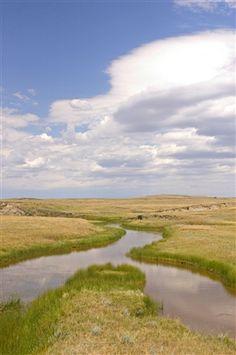 A small creek runs through the South Dakota prairie near the Cave Hills.