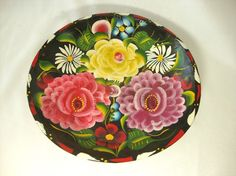 Hand painted Mexican batea bowl.