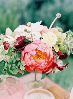 Coral Peony Compote Centerpiece | Jen Huang Photography | Color Theory - Iolite, Coral, and Gold Glam Modern Wedding Inspiration