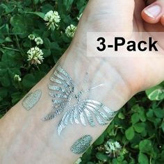 Temporary Tattoos Silver Butterfly Tattoo Pack Metallic Foil