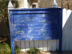 Bright Blue distressed Pallet headboard