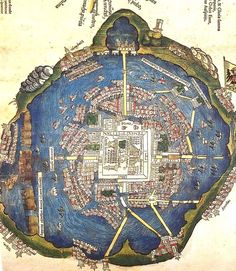 Map of Tenochtitlan circa 1524 (encircled by floating gardens)- click on the map to read about the city's history