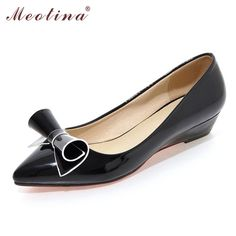 Meotina Wedges Shoes Women Pointed Toe Low Heels Ladies White Wedding Shoes Patent Leather Bow Shoes Black Large Size 9 10 42 43