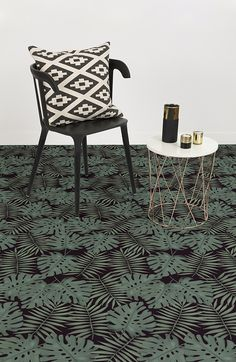 Transform your room into an exotic, stylish scene with this deep tropical flooring. Create a gorgeous getaway with this jungle print featuring a dark green monstera leaves