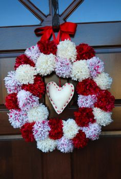 Valentine's Pom-Pom Wreath