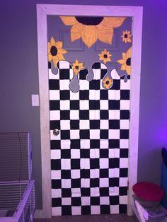 Indie Room Decor, Cute Bedroom Decor, Room Ideas Bedroom, Aesthetic Room Decor, Bedroom Art, Painted Bedroom Doors, Art Room Doors, Painted Doors, Hippie Painting