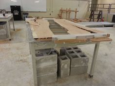 how to make wood inlay in concrete! The mold