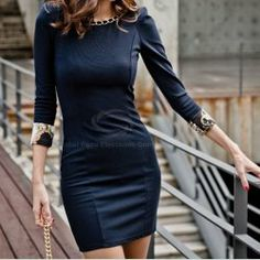 $9.49 Elegant Chain Embellished Neck 3/4 Sleeve Dress For Women