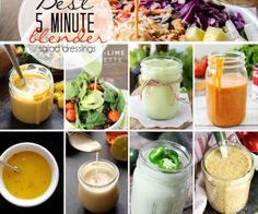 10 of the Best 5 Minute Blender Salad Dressing Recipes that you can find. They take little effort to make and each one tastes delicious. Honey Mustard Vinaigrette, Lime Vinaigrette, Mustard Dressing, Mayonnaise, Salad Dressing Recipes, Salad Dressings, Vegan Dressings, Foil Dinners, Healthy Salad Recipes