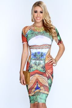 Explore unique style with this one of a kind look! Become the center piece at your next party/event and add it to your collection! Everyone will ask wherever you shop when your seen in this look! It features jungle print, round neckline, short sleeves, and tight fitted. 96% Polyester 4% Spandex. Made in USA.