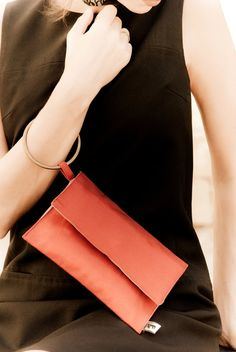 ae22a6722c395 Red clutch with attached bracelet Wristlet Purse in by TikeStudio Red  Clutch Purse
