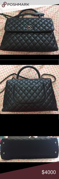 74a76db310c7a1 CHANEL Coco Handle Medium This is an Used authentic CHANEL Caviar Quilted  Medium Coco Handle Flap