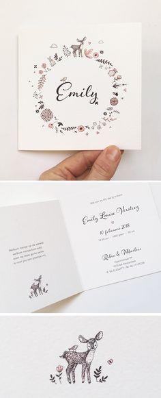 Geboortekaartje Emily: Een tijdloos geboortekaartje met illustratie van diertjes en bloemen. Het is mogelijk een variant van dit kaartje te bestellen.