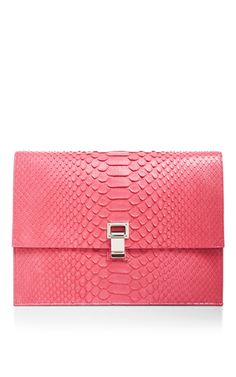 Pink Python Large Lunch Bag Clutch by PROENZA SCHOULER Now Available on Moda Operandi