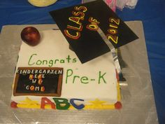 Graduation cake - this was made for a school, for a pre-k class. it was marbled cake.