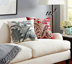 Style Trend: Tropical Leaves, 3D; Pascal Floral Embroidered Pillow Cover #potterybarn