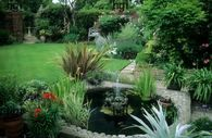 Classical style garden with a herbaceous border and formal water feature Herbaceous Border, Garden Images, Garden Borders, Water Features, Plants, Formal, Style, Lawn And Garden, Water Sources