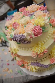 """Butter cream flower cake - First time """"all piping flower cake"""""""