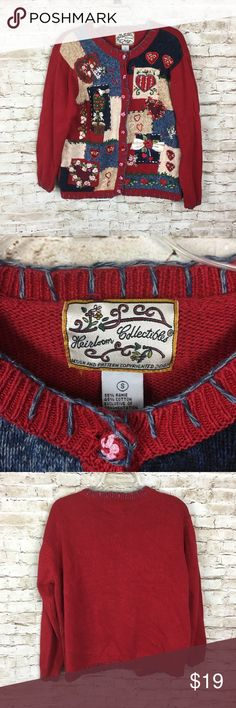 Heirloom Collectibles Ugly Cardigan Sweater Size S Heirloom Collectibles Ugly Cardigan Sweater Size Small Womens Red Holiday heirloom collectibles Sweaters Cardigans