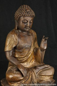 Photo of Bronze Burmese Buddha Statue Meditation Pose Buddhist Casting Buddhism