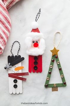 Christmas Crafts for Kids! If you're looking for easy Christmas crafts for kids to make at school or home during the holidays here's a great list of 17 cute ideas! These Christmas crafts for kids would make awesome gifts! Popsicle Stick Christmas Crafts, Christmas Crafts For Kids To Make, Christmas Activities, Simple Christmas, Kids Christmas, Holiday Crafts, Christmas Ornaments, Popsicle Sticks, Popcicle Stick Ornaments