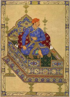 Prince Salim Enthroned. By Manohar (Portrait) and Mansur (Throne). Mughal, dated…