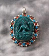 Anhänger Tara ~ Türkis Koralle Silber ~ Original Nepal (1376)