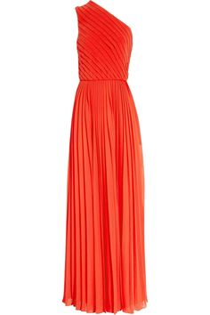Pleated chiffon one-shoulder gown by Halston Heritage