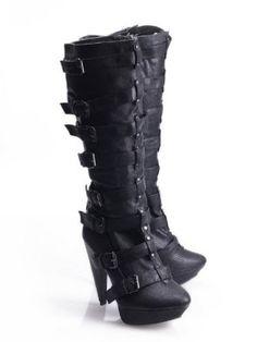 LADIES LEATHER LOOK MULTI STRAP PLATFORM/SLIM HEEL KNEE LENGTH BOOTS/FOOTWEAR --INDUSTRIAL--