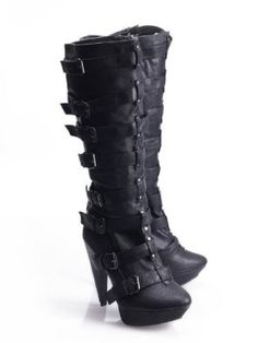 LADIES LEATHER LOOK MULTI STRAP PLATFORM/SLIM HEEL KNEE LENGTH BOOTS/FOOTWEAR --INDUSTRIAL--