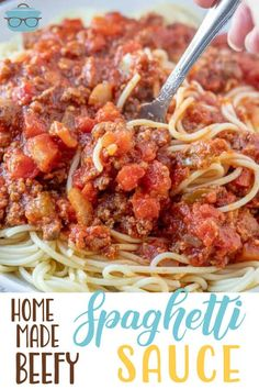 This Homemade Beefy Spaghetti Sauce is simple to make but has incredible flavor. It's the perfect meaty sauce to hold up to any pasta shape. Barilla Recipes, Pasta Recipes, Cooking Recipes, Sauce Recipes, Dinner Recipes, Easy Cooking, Homemade Spaghetti Sauce, Spaghetti Recipes, Best Spaghetti Sauce