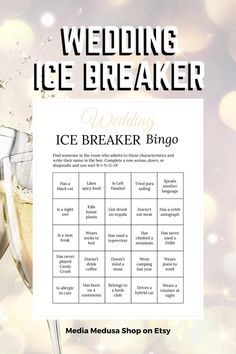 Bridal Shower Ice Breaker Game Champagne Wedding Human Bingo image 3 Bingo Cards, Printable Cards, Party Printables, Ice Breaker Bingo, Human Bingo, Wedding Party Games, Ice Breakers, Champagne Color, Getting To Know You