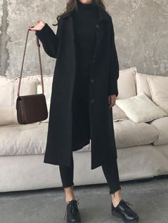 Fashion Casual Loose Solid Color Jumpsuits New Black Pockets Turndown Collar Long Sleeve Fashion Coat.Fashion Casual Loose Solid Color Jumpsuits New Black Pockets Turndown Collar Long Sleeve Fashion Coat Winter Fashion Outfits, Look Fashion, Korean Fashion, Winter Outfits, Womens Fashion, Fashion Coat, Fall Fashion, 80s Fashion, Fashion 2018