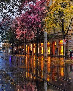 by golden_heart / Romantic autum rain…☔️ Loc:Bahnhof ,Zurich ,Switzerland instagram.com