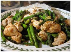 Wok seared chicken with asparagus & Pistachios.. skip the rice for phase 1