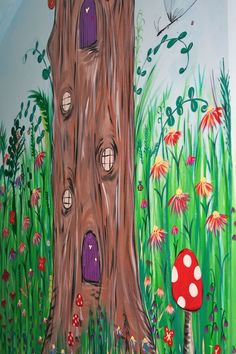 This is taken from a Secret Garden Mural I was commisioned to do it features the fairy tree house with fairy dust on the windows and doors.