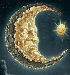 Sun Moon Stars, Sun And Stars, Fantasy Landscape, Fantasy Art, Moon Pictures, Moon Pics, Moon Dance, Moon Illustration, Paper Moon