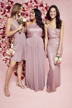 A one-shoulder sequin bodice adds glamour to this long, mesh bridesmaid dress. Reverie, exclusively at David\'s Bridal Polyester Back zipper; Pink Bridesmaid Dresses Short, Pink Flower Girl Dresses, Affordable Bridesmaid Dresses, Davids Bridal Dresses, Wedding Dresses, Bridesmaids, Bridesmaid Gowns, Flower Girls, Wedding Hair