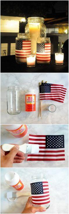 DIY 4th of July Decorations: Easy DIY American Flag Lanterns.