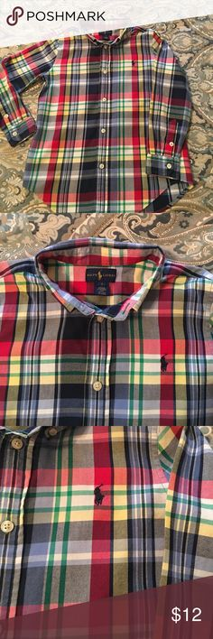 Ralph Lauren multi color plaid button down shirt By far my sons favorite shirt last season. The color is so vibrant and looks great with jeans . Super soft and comfy too. Perfect condition! Ralph Lauren Shirts & Tops Button Down Shirts