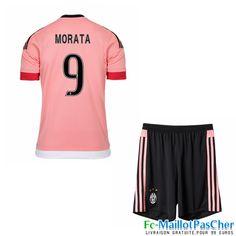 Maillot du Juventus rose Enfant MORATA 9 Exterieur 15 2016 2017