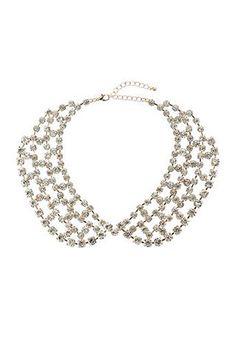 Crystal Rhinestone Peter Pan Collar - my favourite A/W trend Wallis, Peter Pan, Crystal Rhinestone, Clothes For Women, Crystals, Diamond, Womens Fashion, Bracelets, Silver