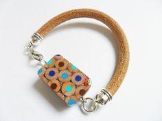 bracciale braccialetto uomo donna a righe matitepois colorate legno matite colorate cuoio vera pelle di BluanneColorWood su Etsy