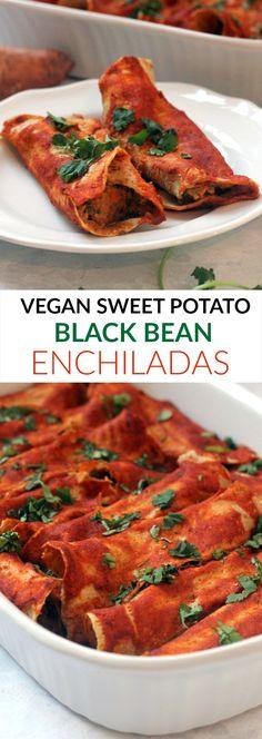 Vegan Sweet Potato Black Bean Enchiladas