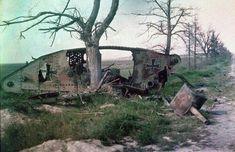 Destroyed Imperial German tank, World War 1.