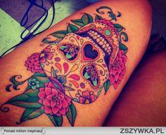 sugar skull tattoo. Looooove the bright colors