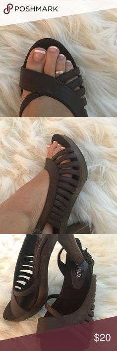 Chunky boho brown leather and wood heels size 8 Solid wood but lightweight size 8 worn once. Open toe very cute for warm weather. No damage as they were only worn once. Shoes Heels