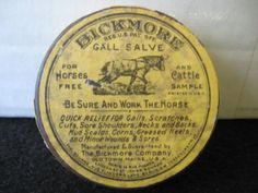 Vintage Bickmore Gall Salve Free Sample Veterinary Tin  sealed