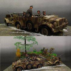 German Horch in Action! Unknown modeler From: The International Society of Battleground Artists #batalha #battle #dio #diorama #dioramas #guerra #war #soldados #soldiers #udk #usinadoskits #miniatura #miniatur #miniature #plastimodelismo #plastickit #scale #hobby #passatempo