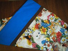 Magic Pillow Case Cats in the Garden with a Blue Cuff by BeBeBeez